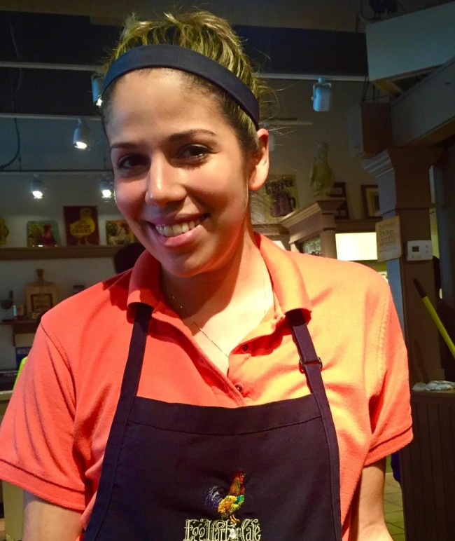 Anna Huerta, one year on the job at Egg Harbor, the neat breakfast and lunch joint on Main Street in downtown Lake Geneva. Just as great at service and fun as her always smiling countenance denotes. This woman is a true asset to the restaurant and Lake Geneva. She got a bit tip this day but gave more than she got!