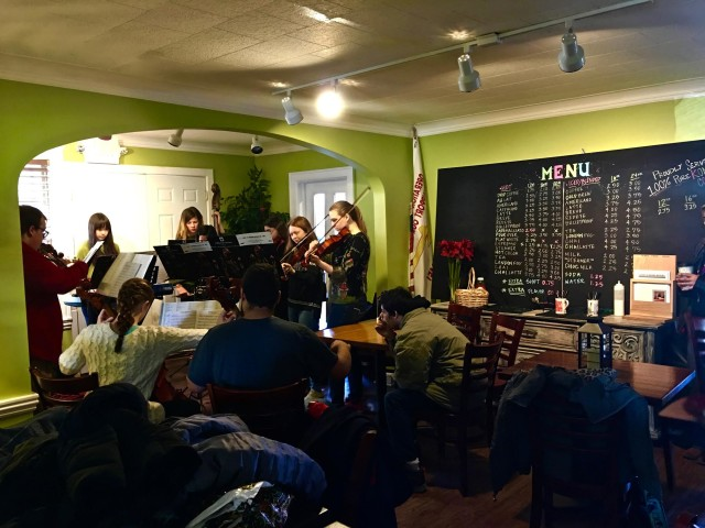 Badger High Band playing at Geneva Java