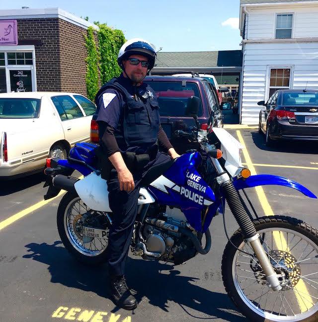 Downtown Police motorcycle patrol Lake Geneva