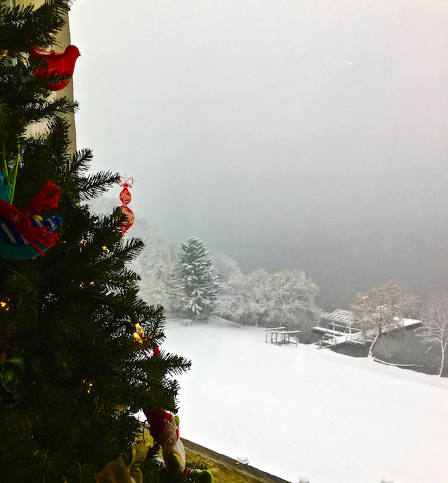 First Snow from Stone Manor 3rd floor Lake Geneva
