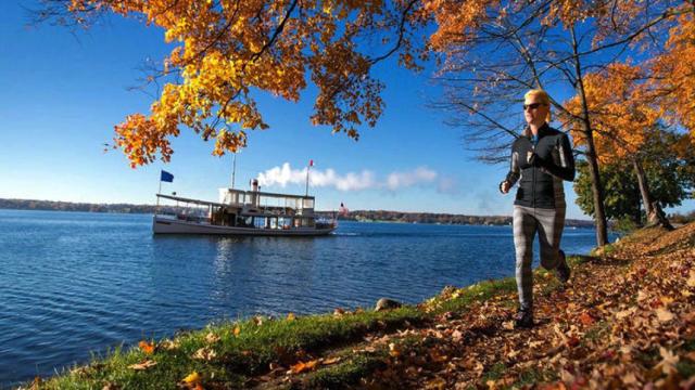 Walking along Lake Geneva Shore