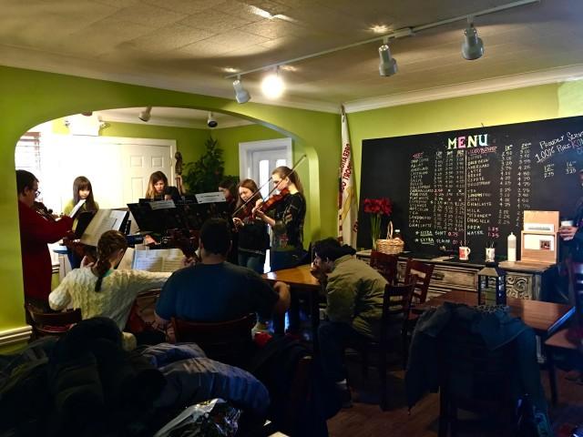 Badger High Band playing at Geneva Java