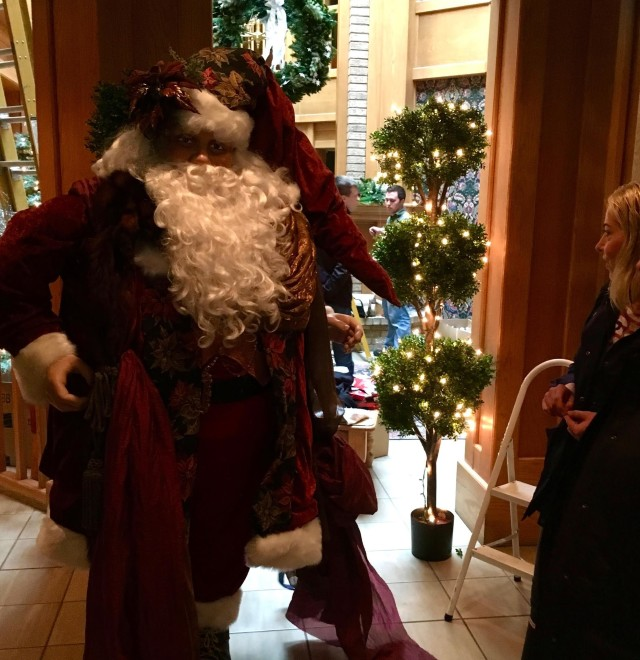 Santa Claus in Lobby of Geneva Inn