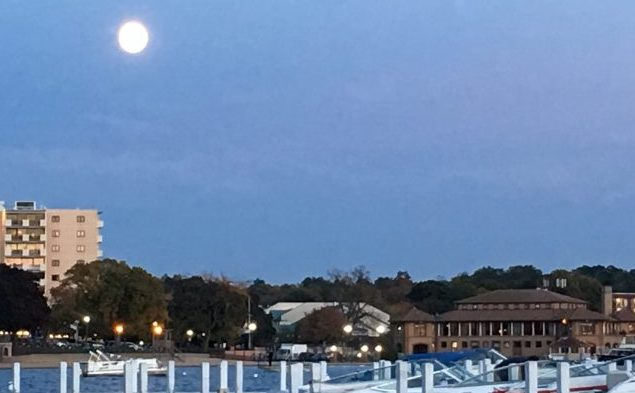 Full Fall Moon over Lake Geneva