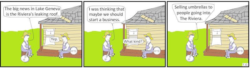 Cartoon bt Terry O'Neill Lake Geneva