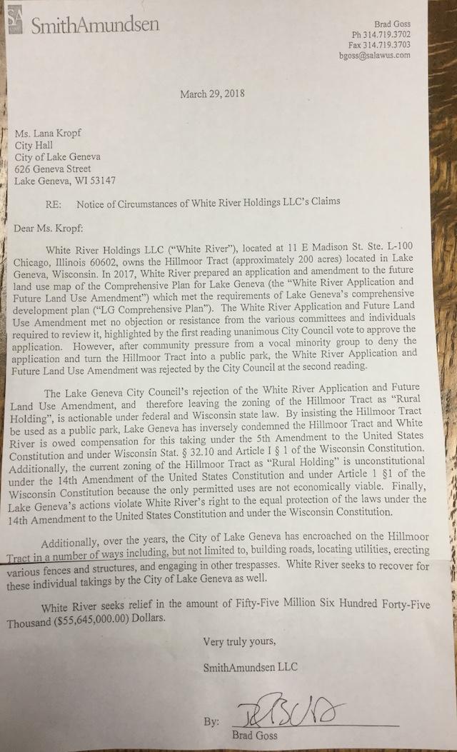 Lawsuit against City of Lake Geneva
