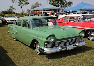1957 Ford Custom 300, two-door sedan. It was green on green,