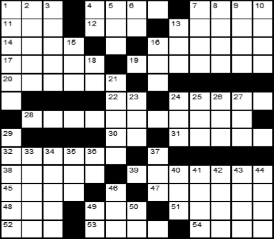 Crossword August 1, 2018