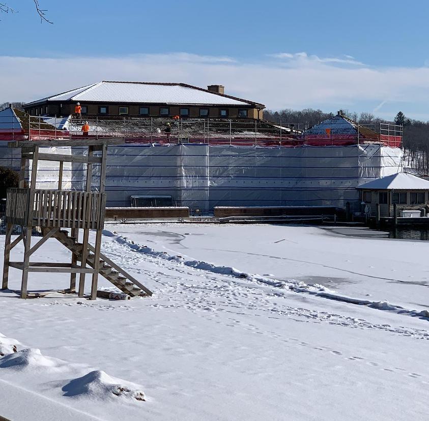 Working on the roof, Riviera Lake Geneva