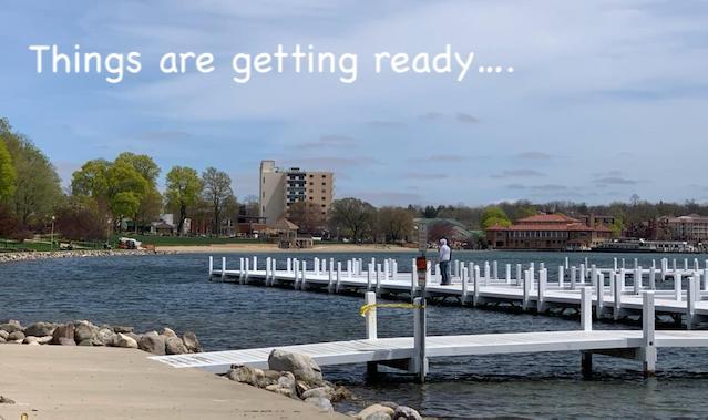 Getting Piers ready Lake Geneva