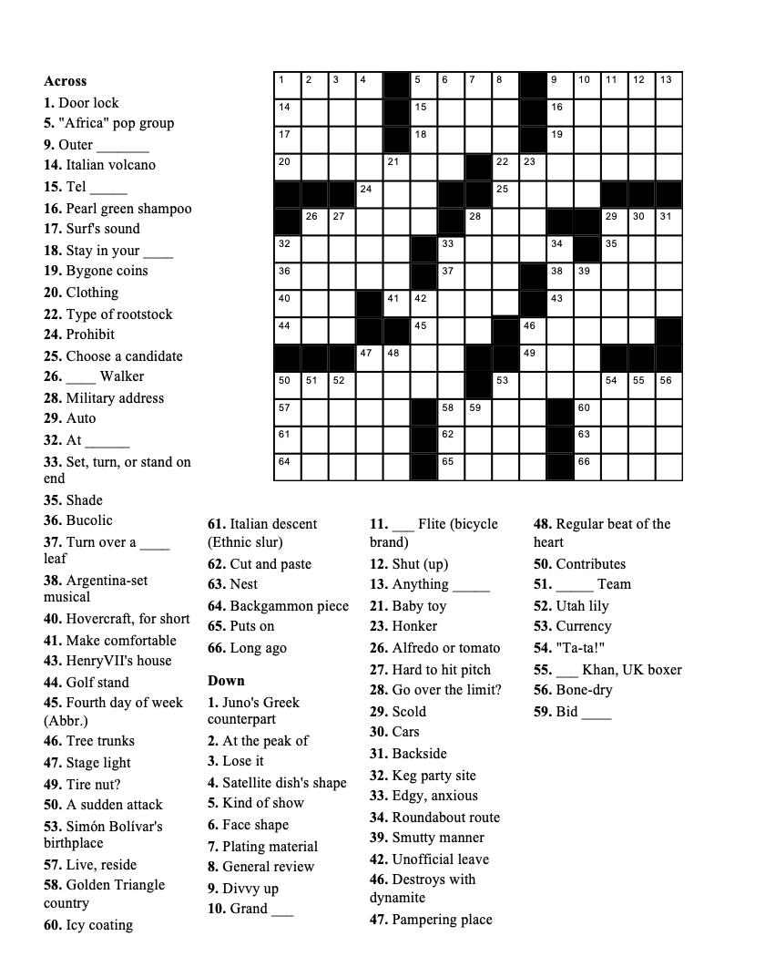 Crossword Puzzle week of 11-11-2020