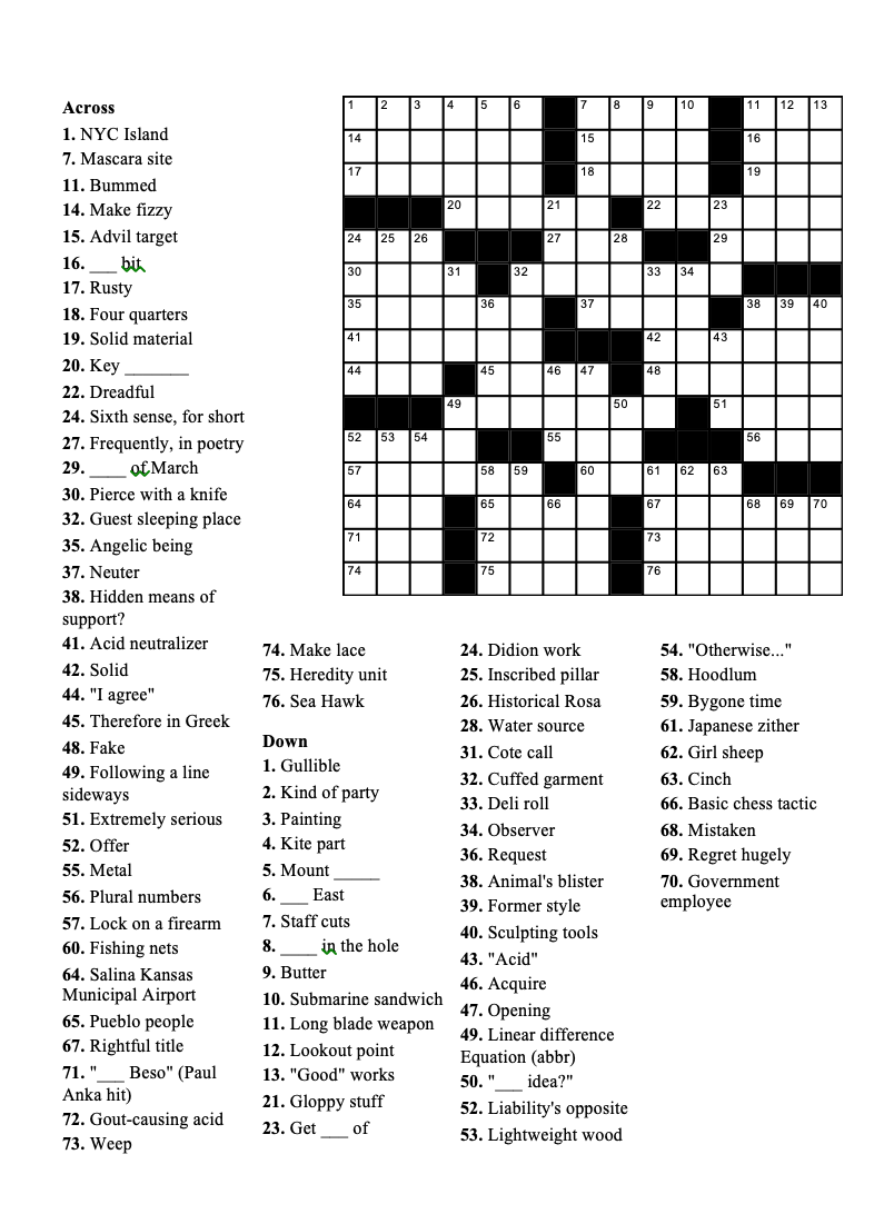 Crossword Puzzle Geneva Shore Report 11-25-2020