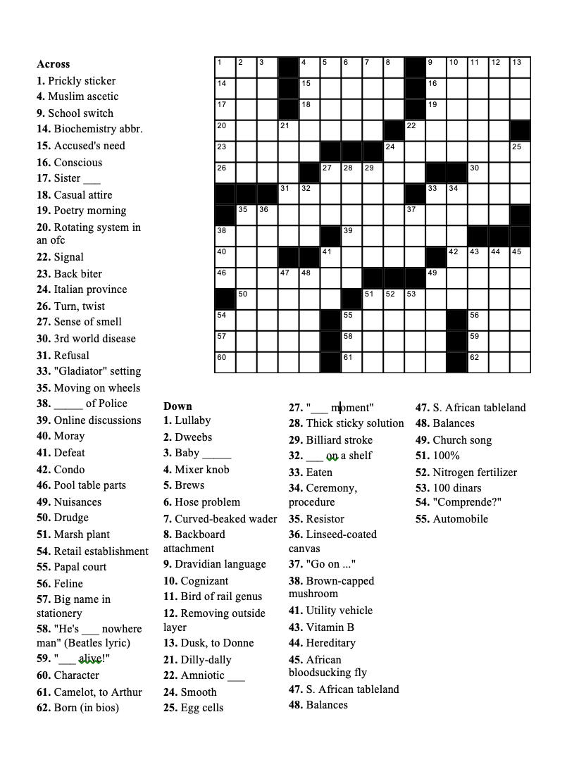 Crossword Geneva Shore Report