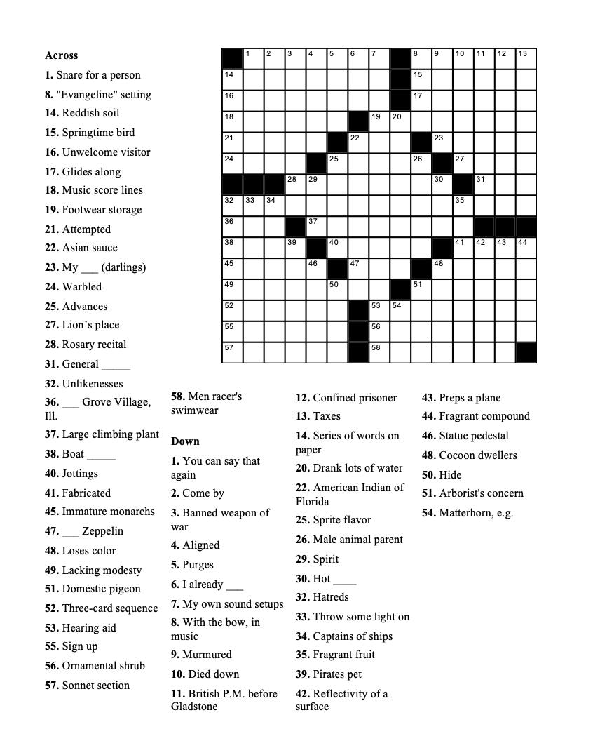 Weekly Crossword Geneva Shore Report